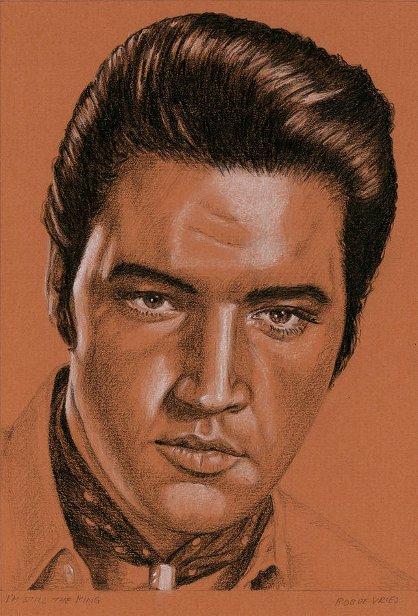 Elvis Drawing - I am still the King by Rob De Vries