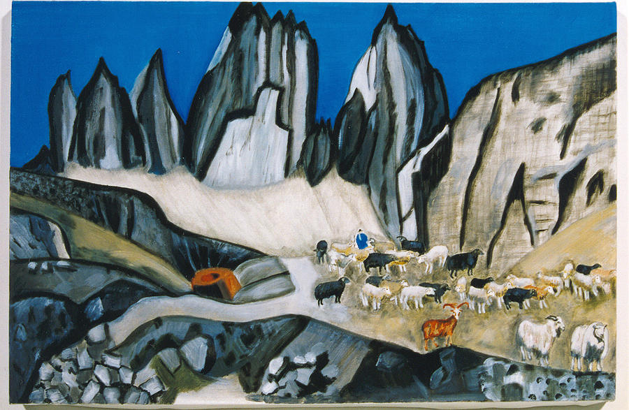 Landscape Painting - I Am The Good Shepherd by Nadine Valentin