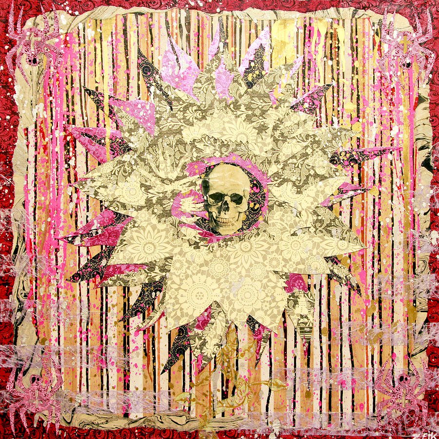Skull Painting - I Am The Petal You Forgot To Pick And I Love You Not by Bobby Zeik