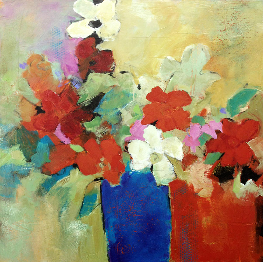Abstract Flowers Painting - I Believe In Red by Filomena Booth