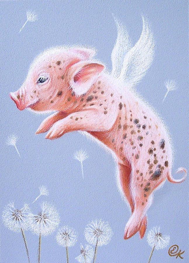 Pig Drawing - I Can Fly Too by Elena Kolotusha