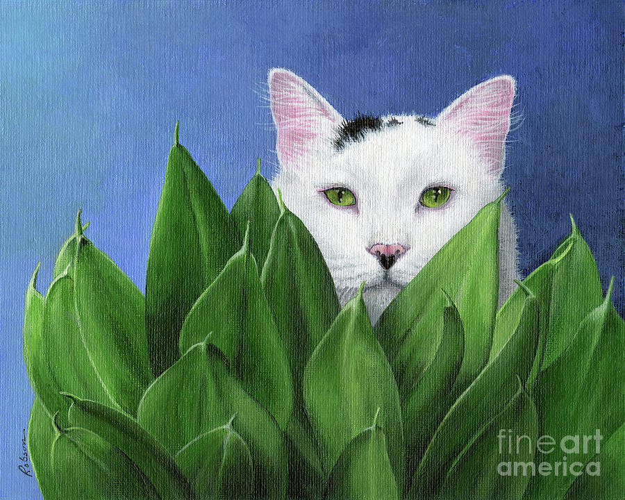 Cat Painting - I Can See You, But... by Peggy Dreher