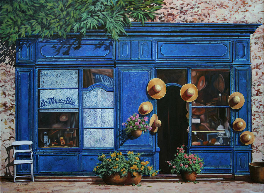 Shop Painting - I Cappelli Gialli by Guido Borelli