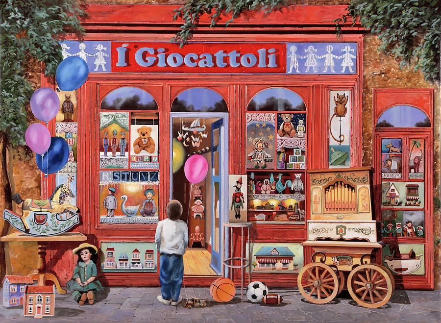 Shop Painting - I Giocattoli by Guido Borelli