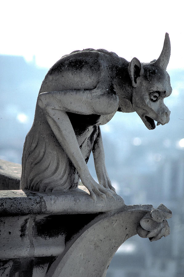 Gargoyle Photograph -  I Hate Paris by Carl Purcell