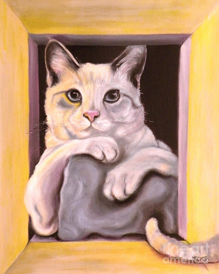 Cat Painting - I Have Been Framed by Susan A Becker