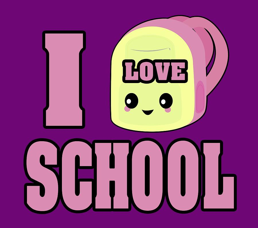c7daeffd3089 Cute Digital Art - I Heart Love School Cute Kawaii Backpack by Dooni Designs