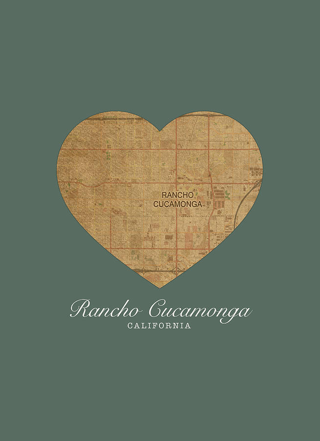 I Heart Rancho Cucamonga California Street Map Love Series No 132