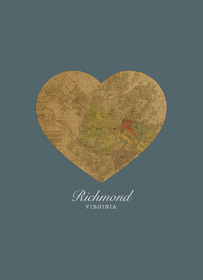 I Heart Mixed Media - I Heart Richmond Virginia Street Map Love Americana Series No 057 by Design Turnpike