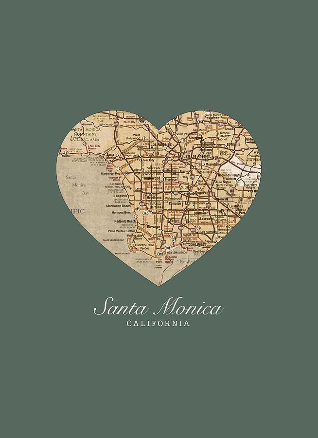 I Heart Santa Monica California Vintage City Street Map Americana Series No 020 Mixed Media By Design Turnpike