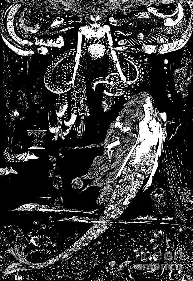 Mermaid Drawing - I Know What You Want Said The Sea Witch, Illustration For The Little Mermaid  by Harry Clarke