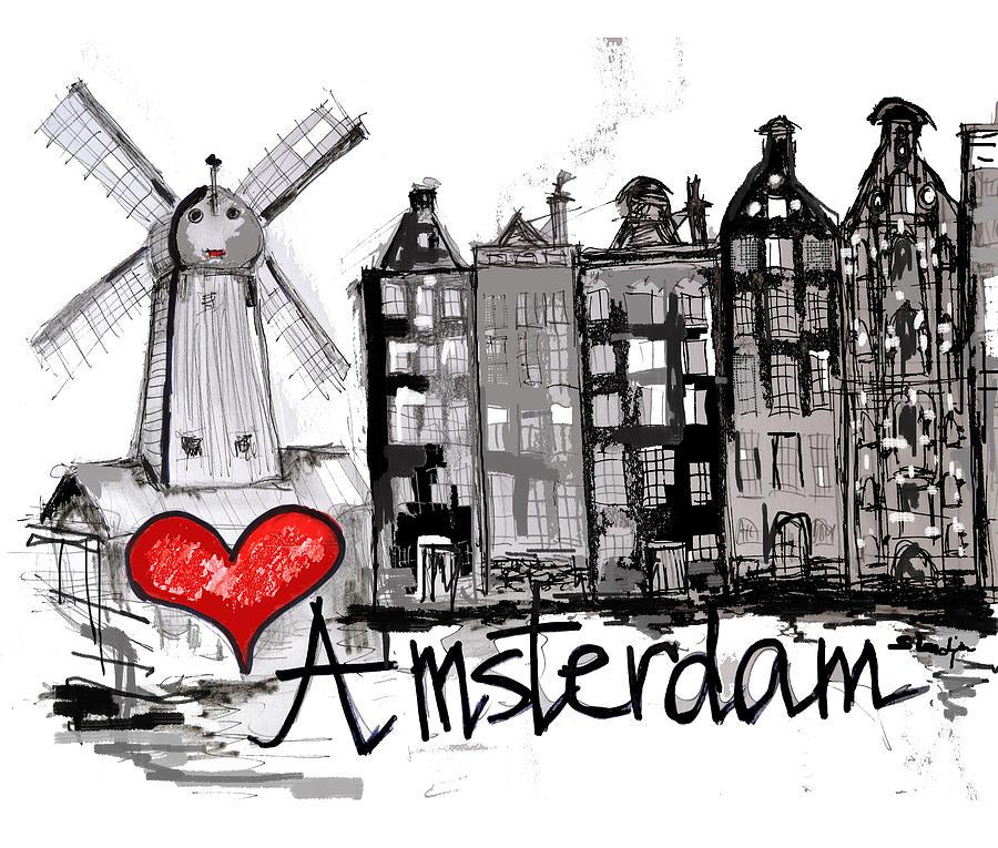 i love amsterdam drawing by sladjana lazarevic. Black Bedroom Furniture Sets. Home Design Ideas