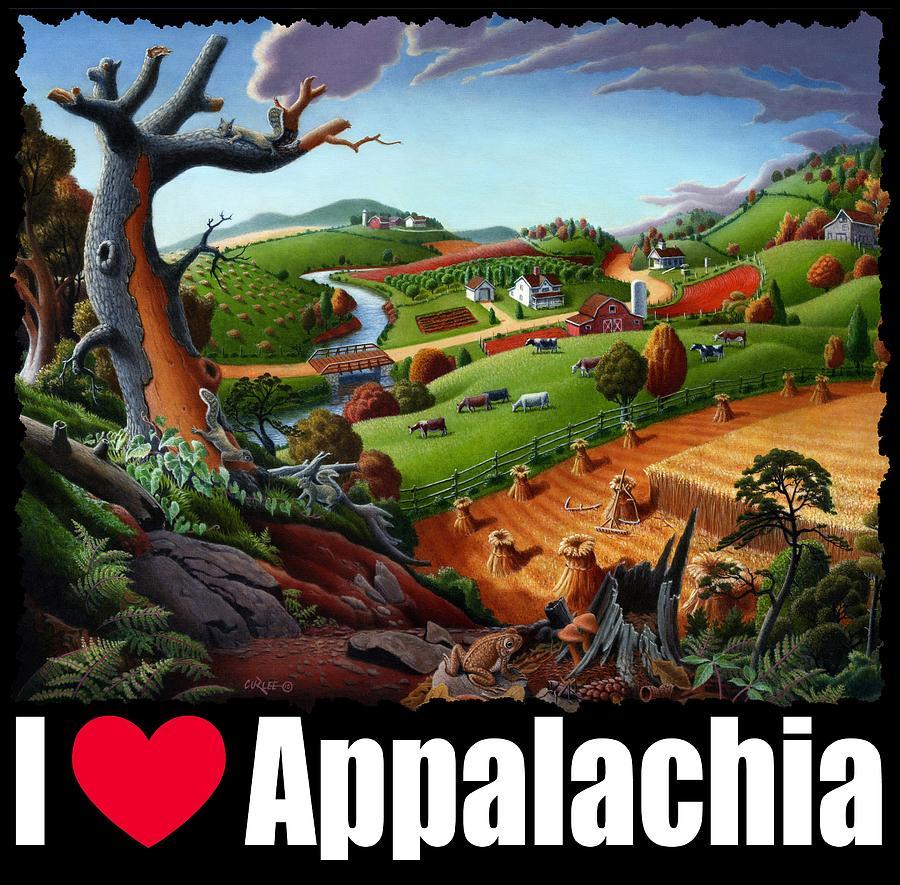 I Love Appalachia T Shirt - Autumn Rural Wheat Harvest Farm ... for Wheat Farm Painting  585hul