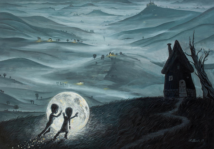 Kids Painting - I Love Dreaming into That Dying Light by Adrian Borda