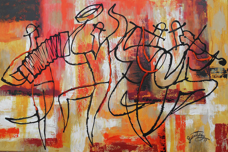 I Love Klezmer Painting by Leon Zernitsky