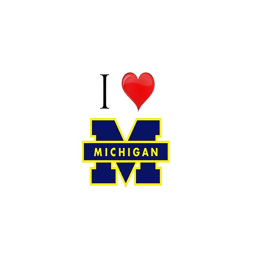 Michigan Digital Art - I Love Michigan by Pat Cook