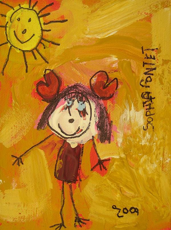 Naif Painting - I Love My Sun by Sophia Pontet
