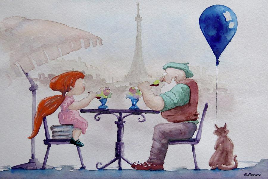 Painting Painting - I Love Paris Grandpa by Geni Gorani