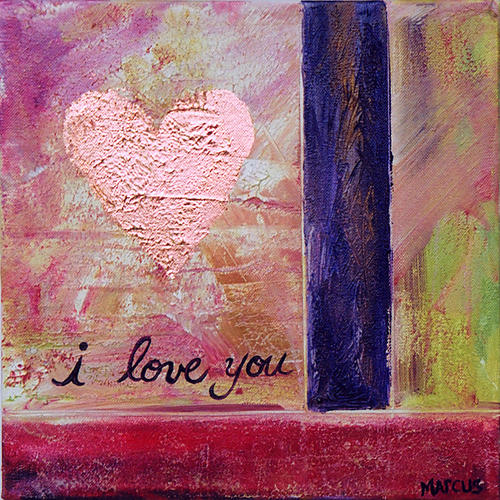 Heart Painting - I Love You 1 by Leslie Marcus