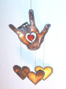 Windchime Mixed Media - I Love You Hand Wind Chime by Morgan Rex