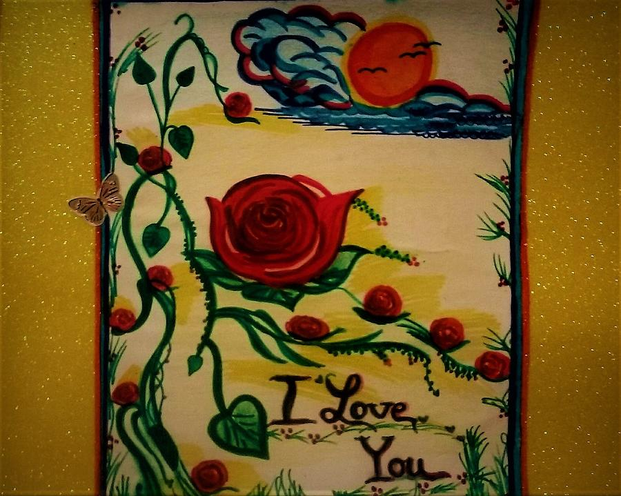 Roses Drawing - I love you  by Lynette Fekete