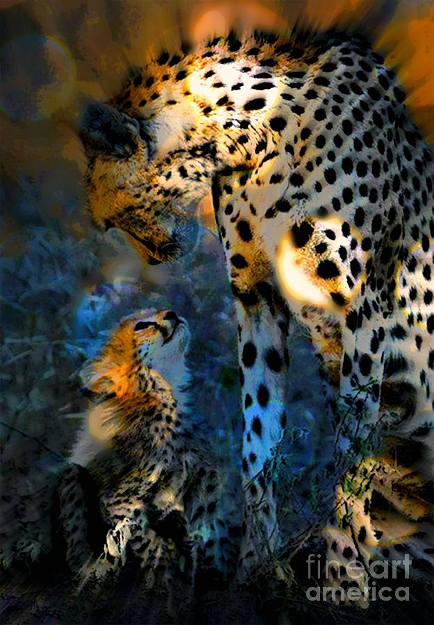 Cheetah Painting - I Love You Mama by Wbk