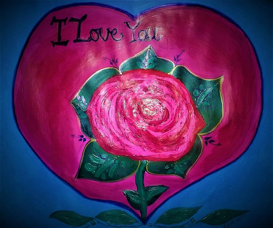 Heart Painting - I love you painting by Lynette Fekete
