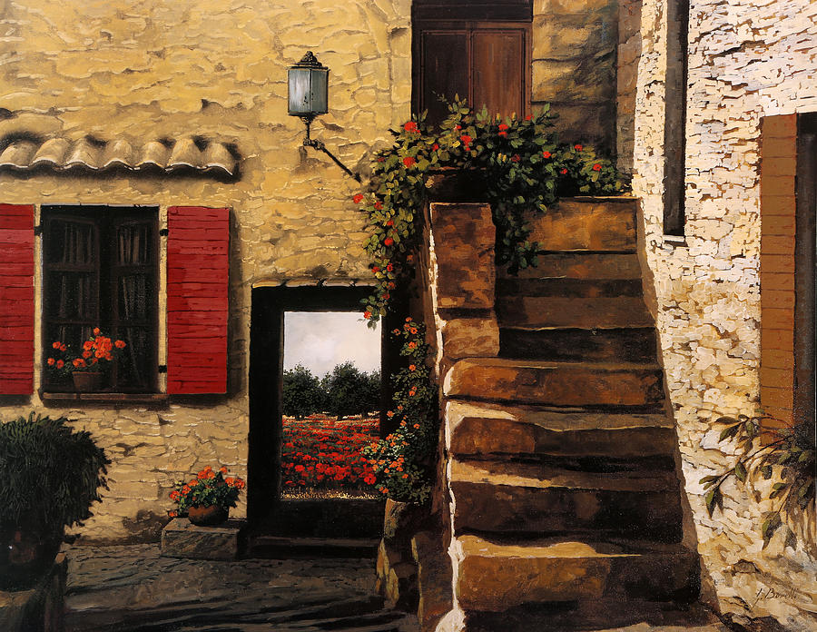 Poppy Painting - I Papaveri Attraverso La Porta by Guido Borelli