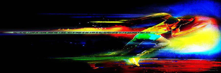 Running Mixed Media - I Press On -1 by Shevon Johnson