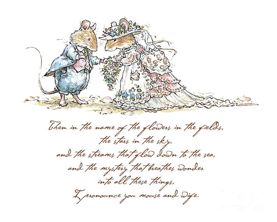 Brambly Hedge Drawing - I pronounce you mouse and wife by Brambly Hedge