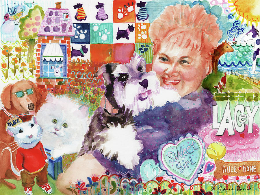 Fluffy Dog Painting - I Remember Lacey by Deborah Burow