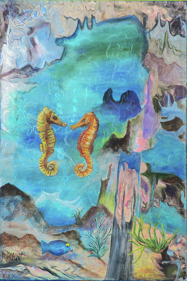 Sea Horse Painting - I Sea You by Mikki Alhart