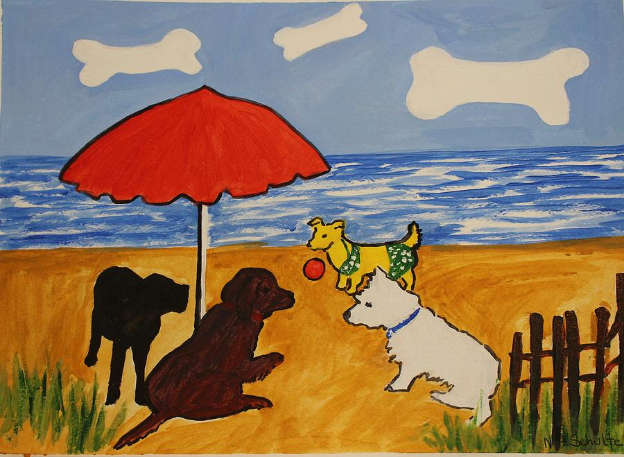 Beach Painting - I Suppose She Wants To Play by Nancy Henkel Schulte