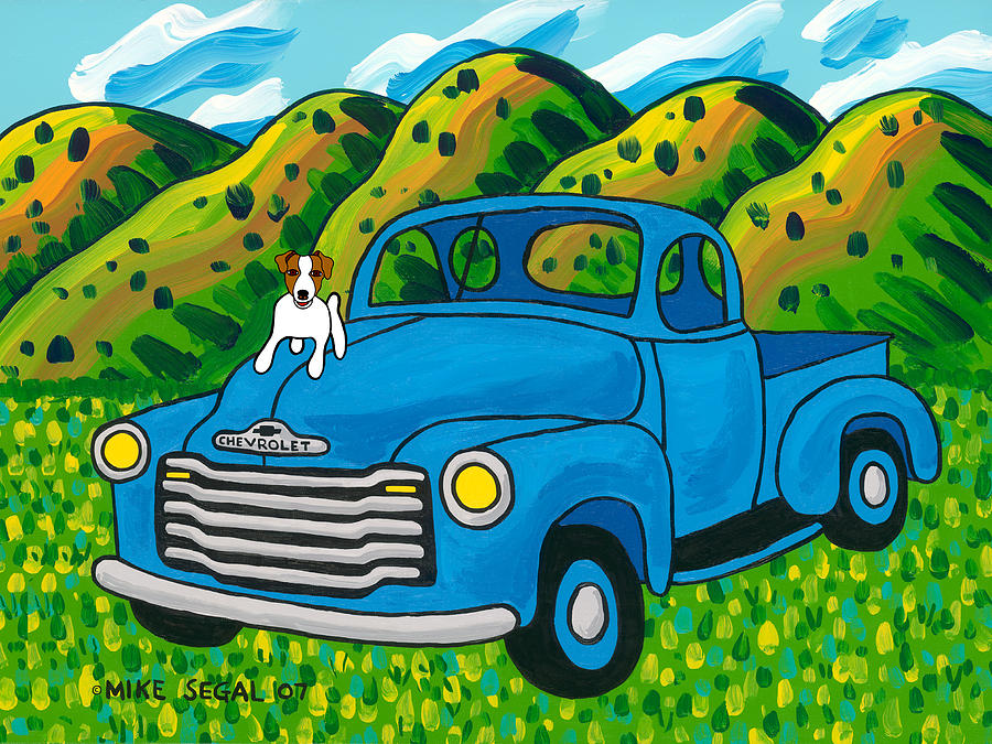 Dog Painting - I Think Im A Hood Ornament by Mike Segal