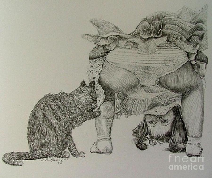Child Drawing - I Tot I Tall A Putty Tat by Dan Hausel