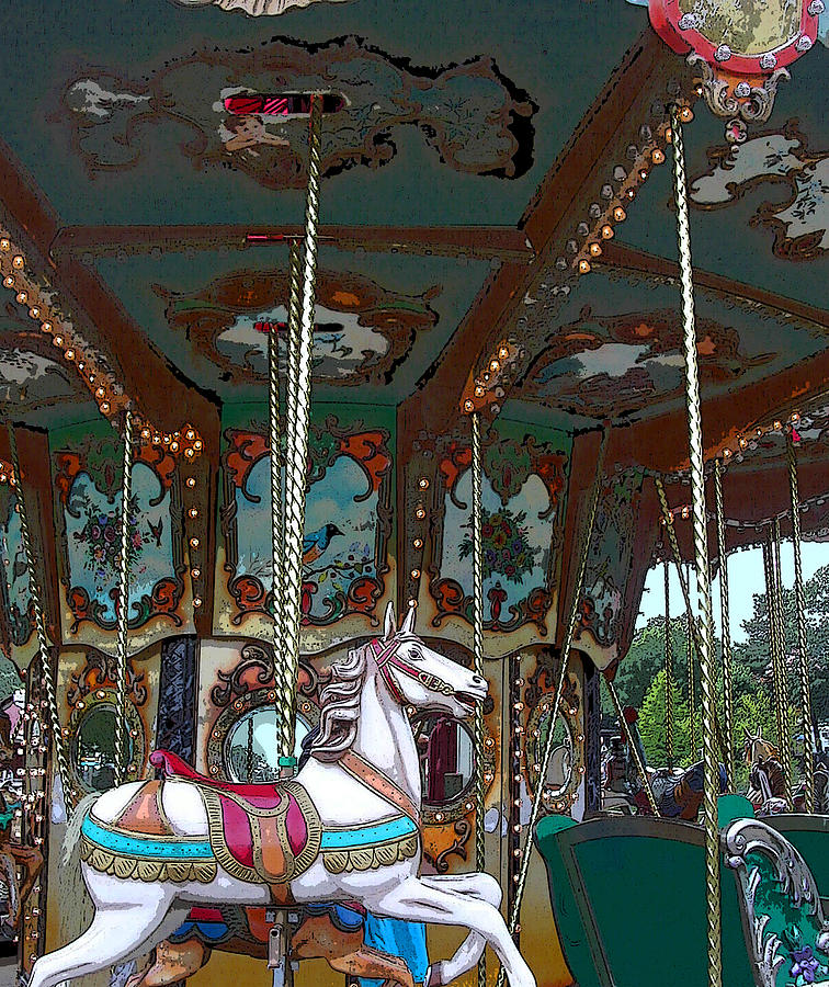 Carousel Photograph - I Want The White Horse by Anne Cameron Cutri