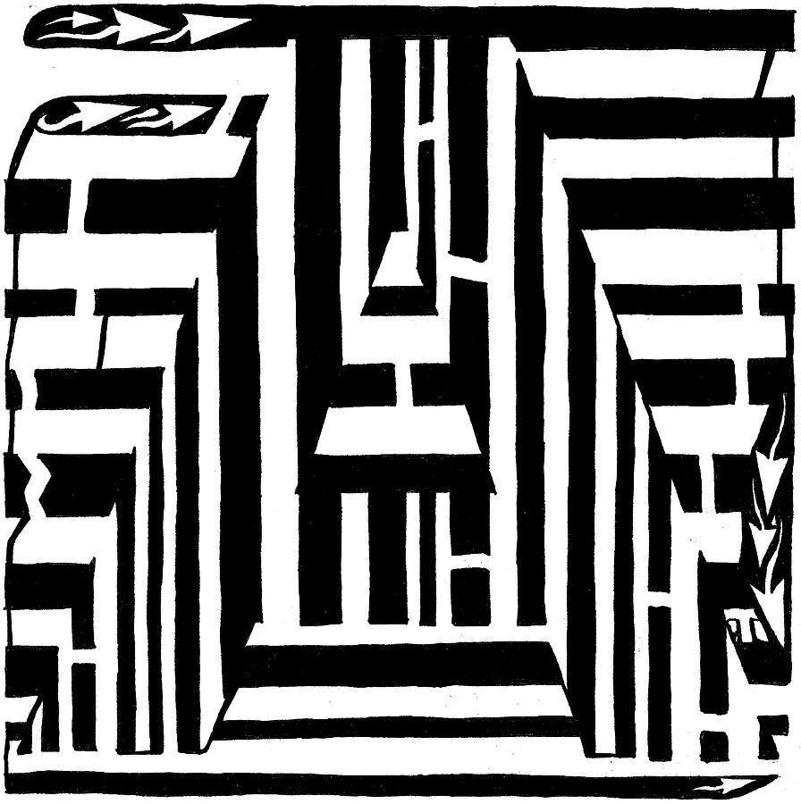 Maze Drawing - I Would Like To Maze A Vowel by Yonatan Frimer Maze Artist