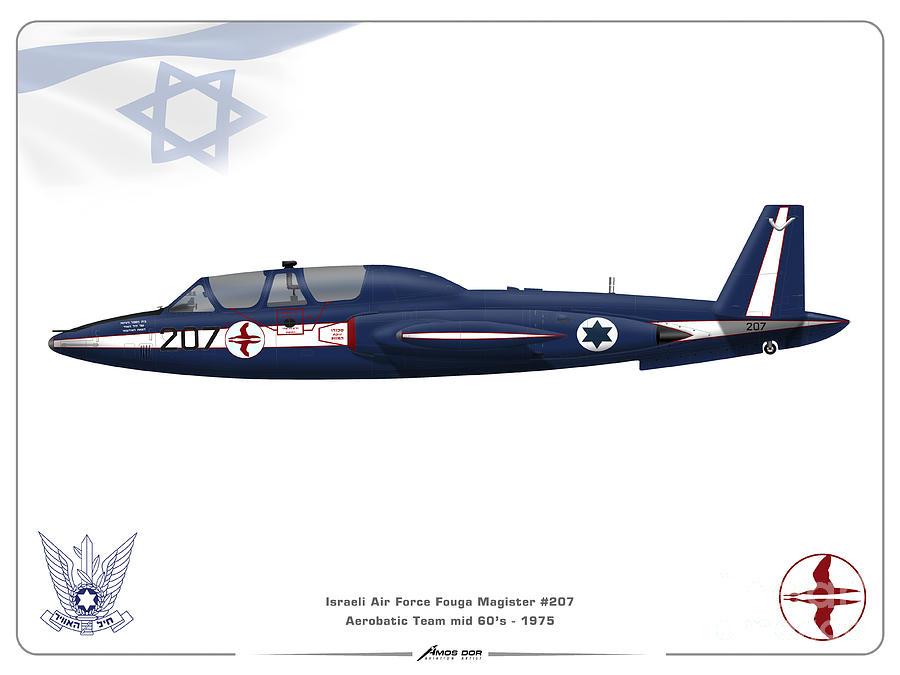 Israeli Air Force Digital Art - IAF Aerobatic Team Fouga Magister by Amos Dor