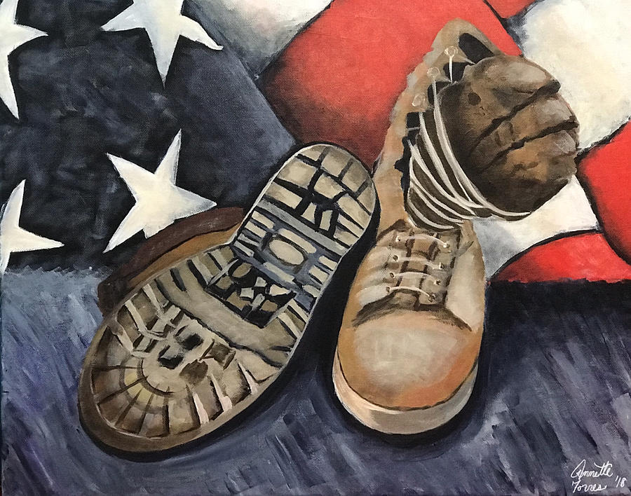 Patriot Painting - Ians Boots V1 by Annette Torres
