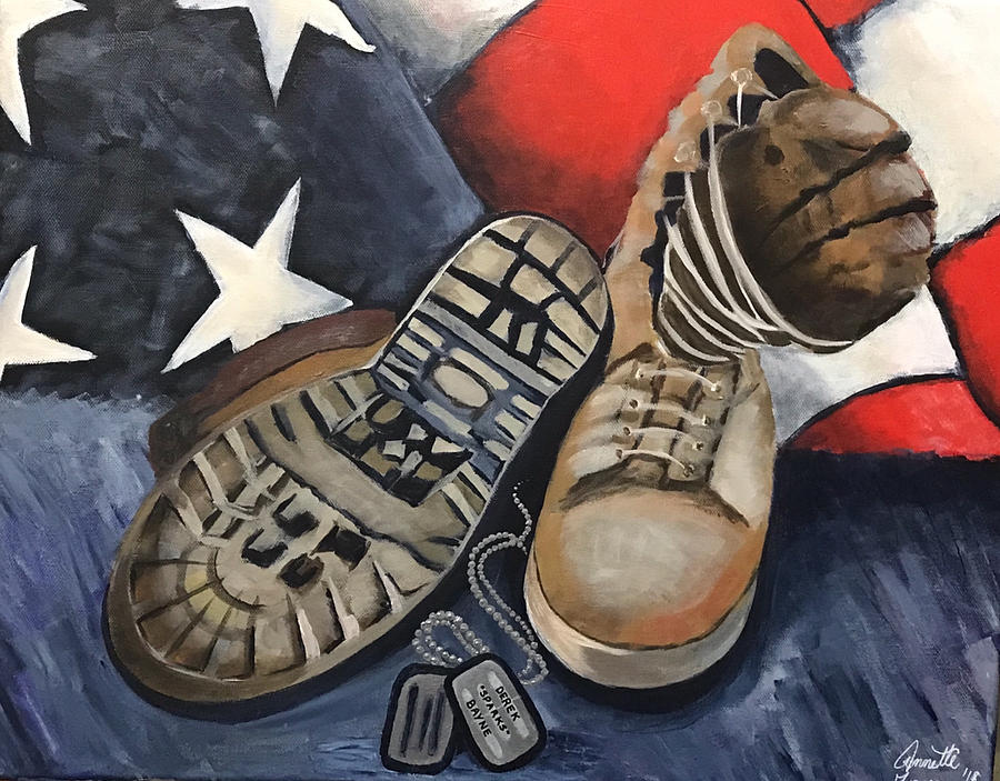 In Memory Painting - Ians Boots V3 by Annette Torres