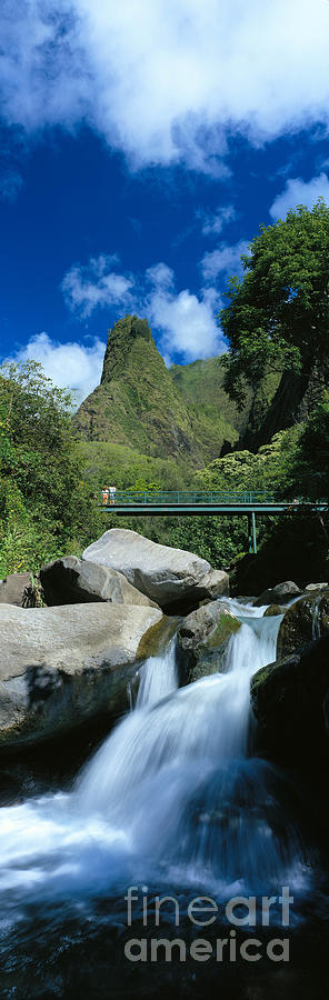 Blue Photograph - Iao Needle And Creek by Carl Shaneff - Printscapes