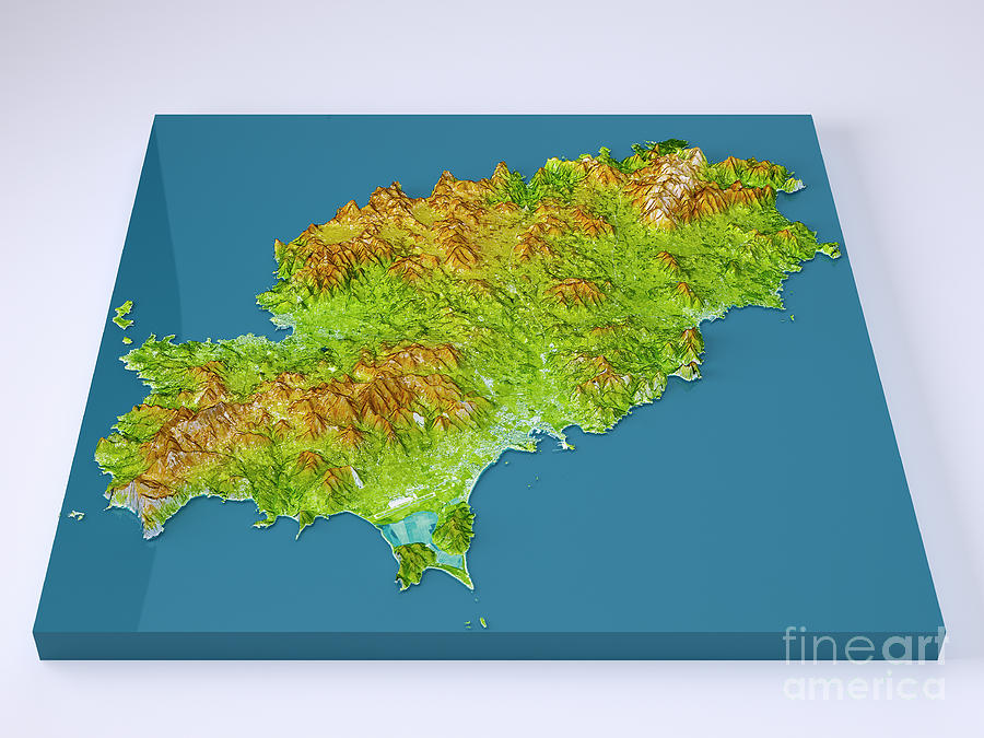Ibiza Island 3d Model Topographic Map Color Frontal Digital Art by