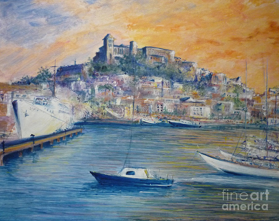 Marina Painting - Ibiza Old Town Marina And Port by Lizzy Forrester