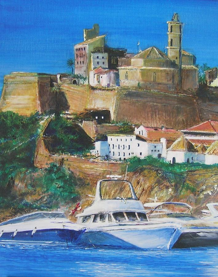 Original Landscape Painting Painting - Ibiza Town  by Lizzy Forrester