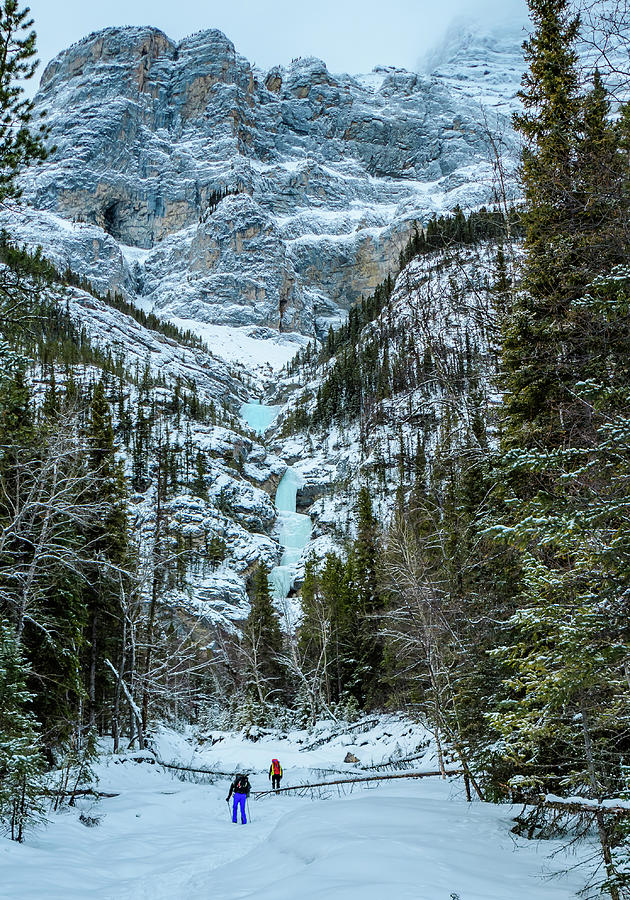Canada Photograph - Ice Climbers Approaching Professor Falls Rated Wi4 In Banff Nati by Elijah Weber