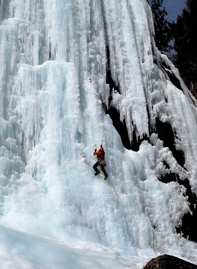 Adirondacks Photograph - Ice Climbing In The Adirondack Mountains Of New York At Pok-o-moonshine Cliff by Brendan Reals