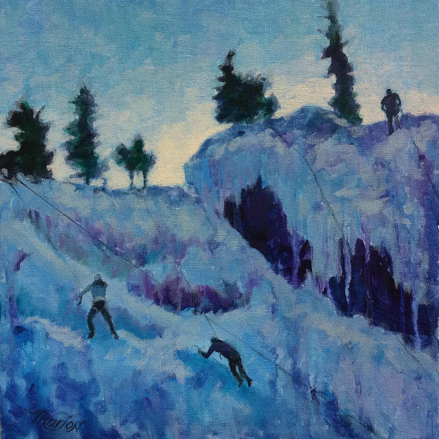 Ice Climbing Painting - Ice Climbing by Marion Corbin Mayer
