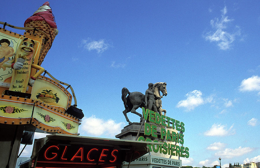 Paris Photograph - Ice Cream And The Statue by Kathy Yates