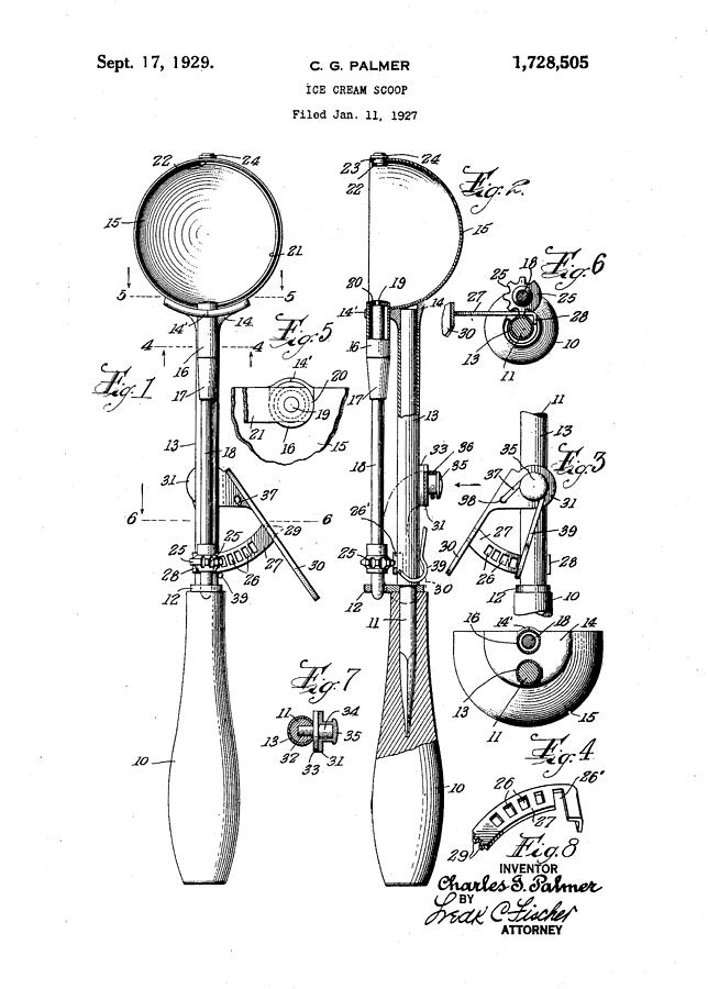 Ice Cream Scoop 1927 Drawing By Ray Walsh