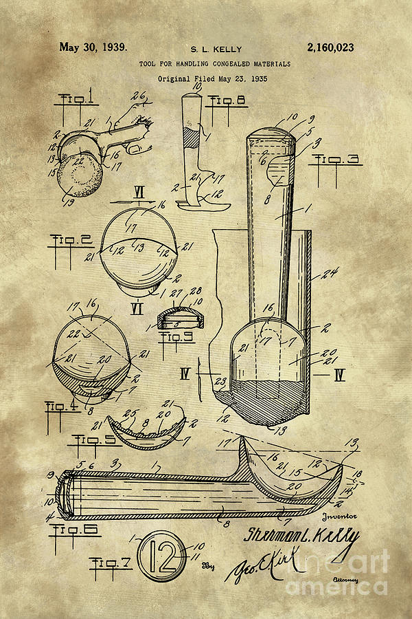 Ice cream scoop antique blueprint patent drawing 1939 kitchen art kitchen tool painting ice cream scoop antique blueprint patent drawing 1939 kitchen art by tina malvernweather